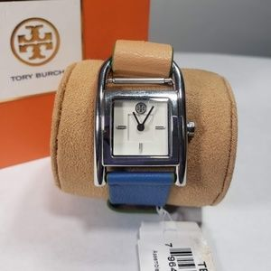 Tory Burch Thayer Watch Blue Beige New In Box